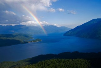 rainbow on lake